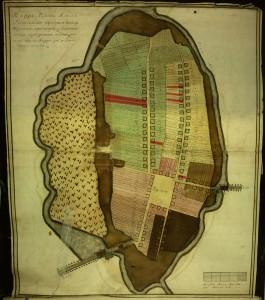 Курпаны на карте Семежево 1777 года (7 семей, отмечены красным)