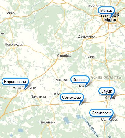 Семежево на карте Беларуси